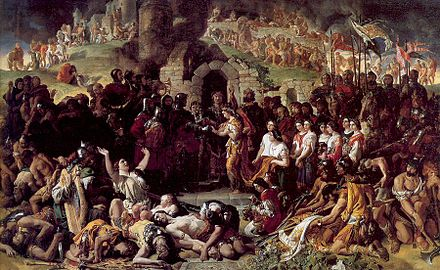 The Marriage of Aoife and Strongbow; a romanticized depiction of the union outside the ruins of Waterford by Daniel Maclise. Much of the initial Norman Invasion of Ireland occurred within and around Osraige's borders. MarriageAoifeStrongbow.jpg