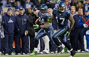 Marshawn Lynch - Lynch during the Seahawks' 2011 NFC Wild Card game against the New Orleans Saints.