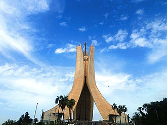National monument - Maqam Echahid in Algiers, Algeria, iconic concrete monument commemorating the Algerian war for independence.