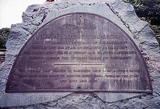 Memorial plaque on Mary Slessor's grave at Calabar, eastern Nigeria, in 1981 Mary Slessor Grave Calabar Nigeria 11.81 edited-2.jpg