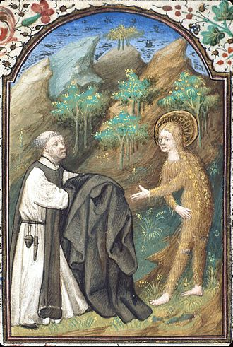 Mary of Egypt - Icon of Mary of Egypt, covered in golden hair, being handed a cloak by Zosimas, French, 15th century (British Library)