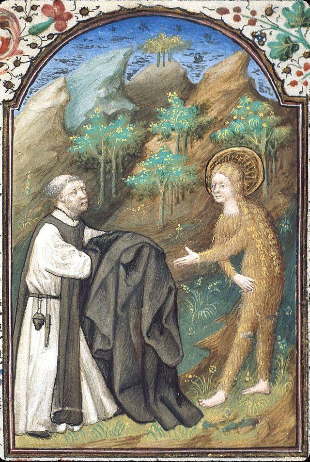 Maria av Egypt får en kappe av Zosimus, fransk, 1400-t (British Library)