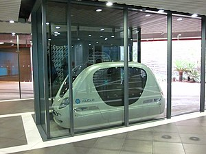 Masdar City - Podcar at a personal rapid transit (PRT) station