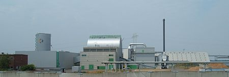 Masnedo CHP power station in Denmark. This station burns straw as fuel. The adjacent greenhouses are heated by district heating from the plant. Masnedo power station.jpg