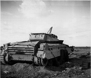 First Battle of Bir el Gubi - A British Crusader tank abandoned at Bir el Gubi in the winter of 1941.