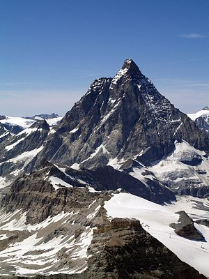 Matterhorn - View on the south and east faces and the area of the Theodul Pass between Italy (left) and Switzerland (right)