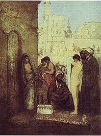 Esclave blonde présentée pour sa cession sur le marché aux esclaves