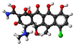 Ball-and-stick model of the meclocycline molecule