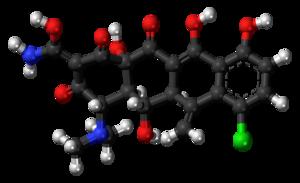 Meclocycline - Image: Meclocycline 3D ball