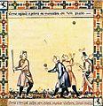 Medieval baseball (El juego de la Pelota) in the Cantigas de Santa Maria.jpg