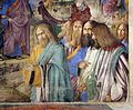 Melozzo da forlì, ingresso a gerusalemme, 1477 ca. 04 con autoritratto a dx.jpg