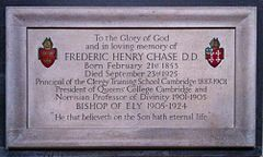 Memorial to Bishop Frederic Henry Chase in Ely Cathedral.JPG