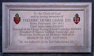 Frederic Chase - Memorial to Chase in Ely Cathedral