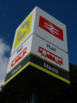 Meols railway station - Meols station sign outside entrance