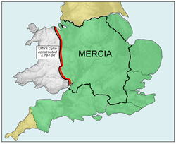 The Kingdom of Mercia (thick line) and the kingdom's extent during the Mercian Supremacy (green shading)