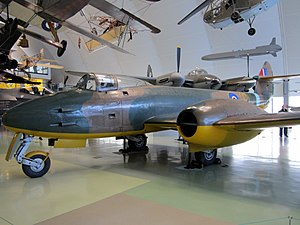 RAF Newmarket - DG202/G, the prototype Gloster Meteor tested at RAF Newmarket, on display at the Royal Air Force Museum London in 2011.