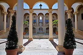 Arcade And Courtyard With Fountain