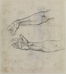 Studies of an outstretched arm for the fresco 'The Drunkenness of Noah' in the Sistine Chapel