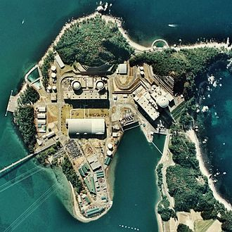 Mihama Nuclear Power Plant - Aerial view of the plant from 1975.  Image: Japan Ministry of Land, Infrastructure and Transport