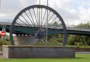 Denaby Main - Image: Mining wheel at the entrance to the Dearne Valley leisure centre. geograph.org.uk 567137