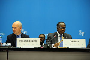 World Trade Organization Ministerial Conference of 2011 - Pascal Lamy of France, director general of the World Trade Organization (left) and Olusegun Olutoyin Aganga of Nigeria, chairman of the Eight Session