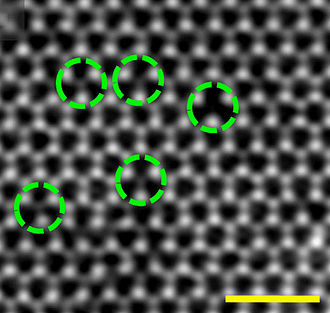 Vacancy defect - Electron microscopy of sulfur vacancies in a monolayer of molybdenum disulfide. Right circle points to a divacancy, i.e., sulfur atoms are missing both above and below the Mo layer. Other circles are single vacancies, i.e., sulfur atoms are missing only above or below the Mo layer. Scale bar: 1 nm.