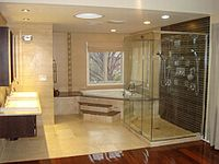 Bathroom wikipedia for Small 4 piece bathroom designs