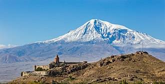 Mountain - Mount Ararat, as seen from Armenia.
