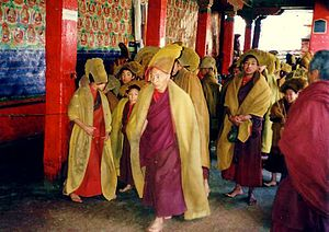 Tashi Lhunpo Monastery - Monks hurrying to services, Tashi Lhunpo, 1993