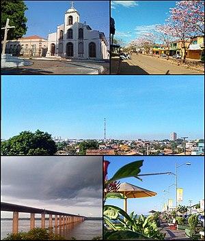 Em sentido horário: Biblioteca Municipal Orlando Lima Lobo e a Igreja de São Félix de Valois, em 2010, no bairro Francisco Coelho, na Velha Marabá; flora dos ipês-roxos, em 2017, na Avenida Paraíso, bairro Liberdade, na Cidade Nova; panorama da Nova Marabá, em 2017, a partir do Campus Industrial do IFPA; jardins da Orla do Tocantins, em 2011, no Centro, Velha Marabá, e; Ponte Mista de Marabá, em 2011, com o São Félix ao fundo.