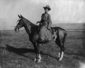 Woman in cowgirl attire on horseback.