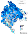 Serbian language by settlements.
