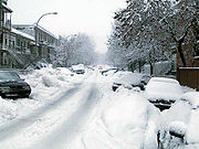 A street in Montreal after a major snowstorm.