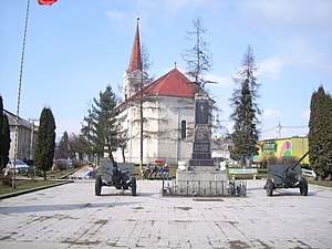 Târgu Lăpuș - Union Monument (1935) and Reformed Church (1863)