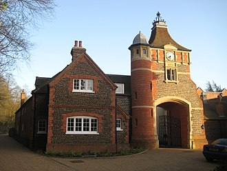 Moor Park, Farnham - Gate house with clock, by the site of the Battle of Moor Park