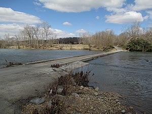Low-water crossing - The single-lane low-water bridge over the Shenandoah River in Virginia