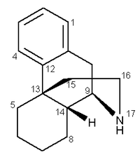 Stereo structural formula of (1R,9R,10R)morphinan