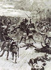 Morte de João da Boémia durante a batalha de Crecy - gravura de C. Delori, sec.19