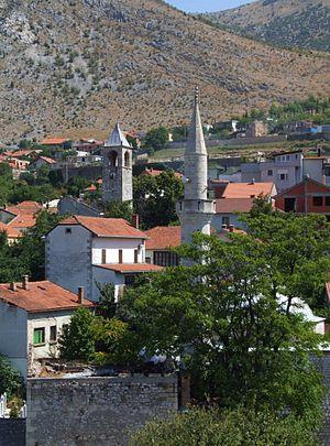 European Islam - Church and Mosque, Mostar, Bosnia and Herzegovina.