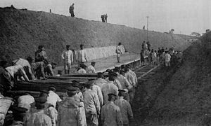 Chōshi Electric Railway Line - Moto-Choshi Station under construction by army engineers circa 1913