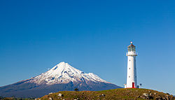 Mount Taranaki and Cape Egmont Lighthouse.jpg