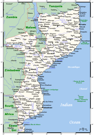 Geography of Mozambique - Map of Mozambique's population centres