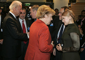 Ukraine–European Union relations - Angela Merkel (Chancellor of Germany) in Conversation with Yulia Tymoshenko (Prime Minister of Ukraine) during the 45th Munich Security Conference (7 February 2009)