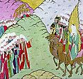 Muhammad, Abu Bakr, and other supporters of the Prophet arriving in Madinah after leaving Makkah.jpg