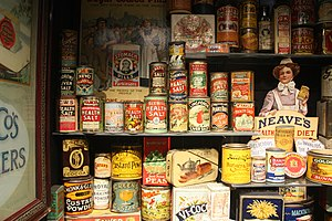 Museum of Brands, Packaging & Advertising - Display of cans in the museum's collection