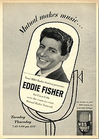 Photograph of a man smiling, superimposed on an illustration of a microphone and accompanied by advertising copy in the same format as the preceding image.