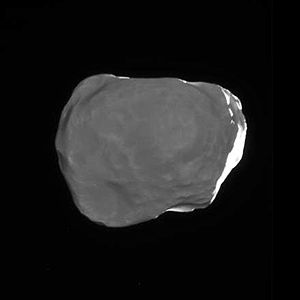 Helene (moon) - Helene's Saturn-facing side, lit by saturnshine (Cassini, March 2010)