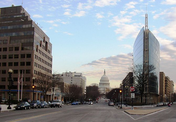 The NAR building and the U.S. Capitol in the b...