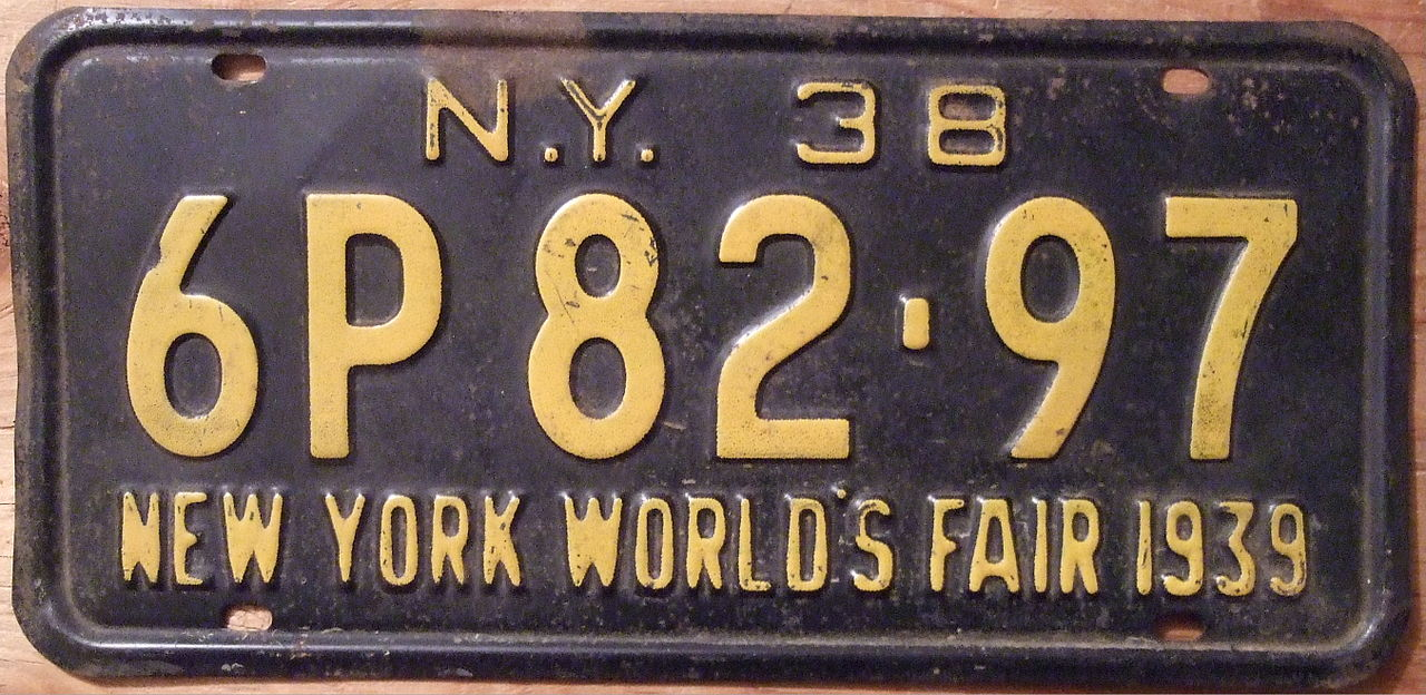 file new york 1938 license plate with new york world 39 s. Black Bedroom Furniture Sets. Home Design Ideas