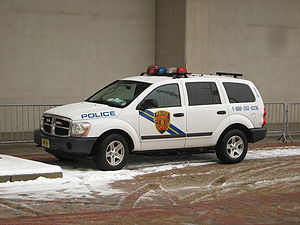 NJ Transit Police vehicle #318, a Dodge Durang...